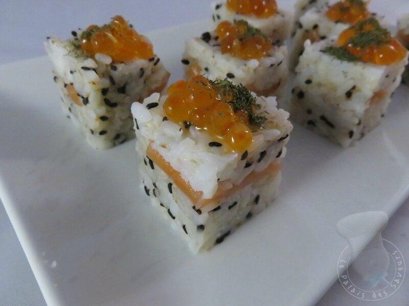 Rice cube saumon fumé