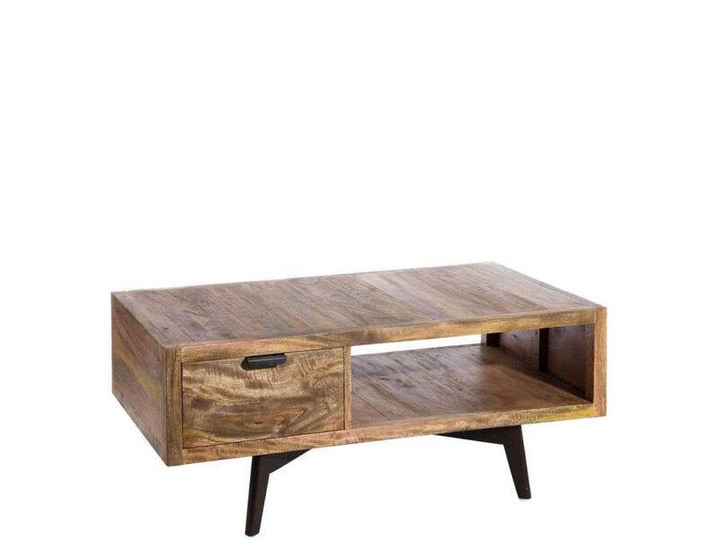 table basse vintage bois massif