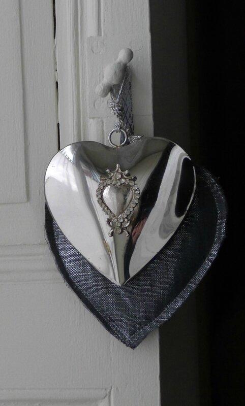 Coeur Lin gris argent + métal (3)