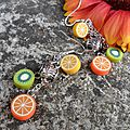Boucles d'oreille fruits & tea