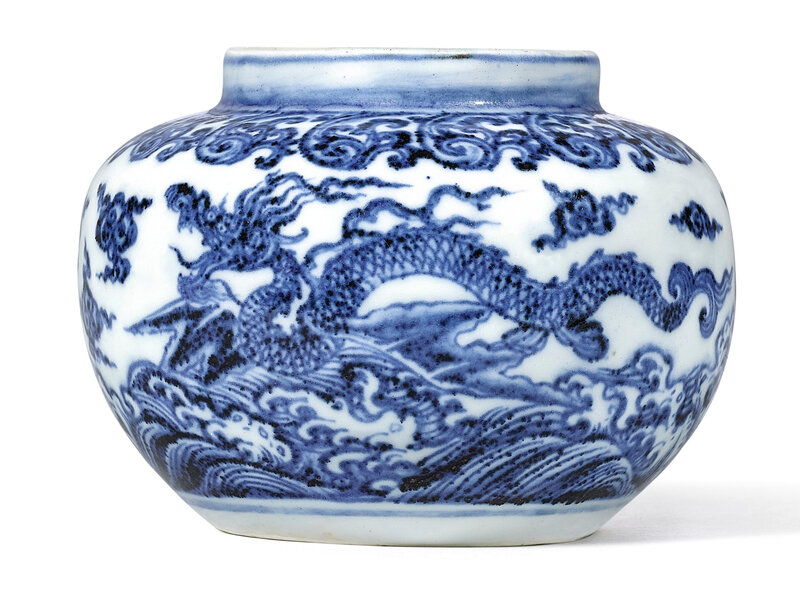 An Exceptional and Extremely Rare Blue and White 'Winged Dragon' Jarlet, Ming Dynasty, Yongle–Early Xuande Period