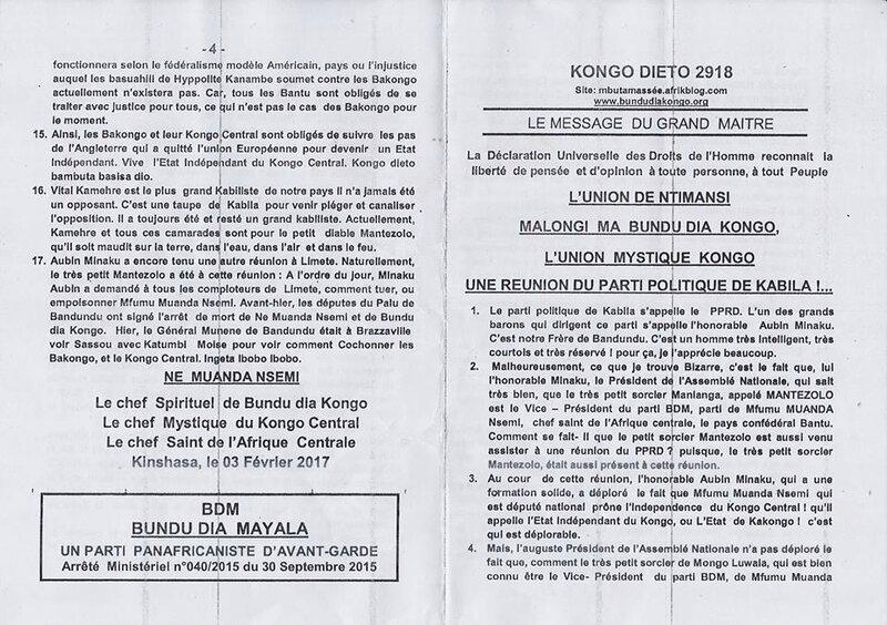 UNE REUNION DU PARTI POLITIQUE DE KABILA a