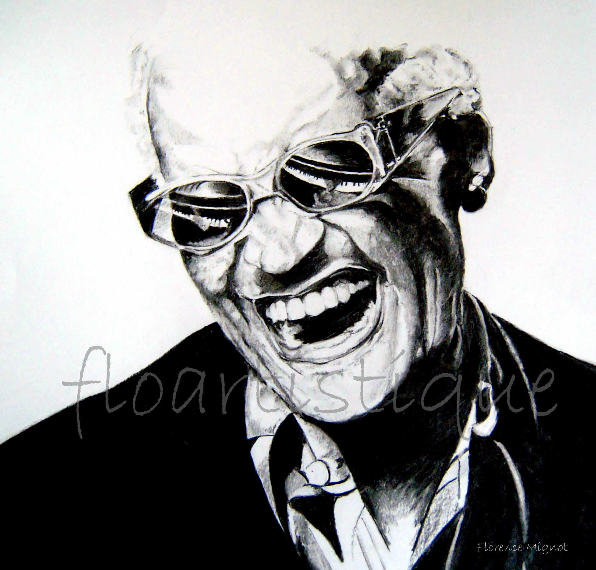 Portrait fusain - Ray Charles - VENDU