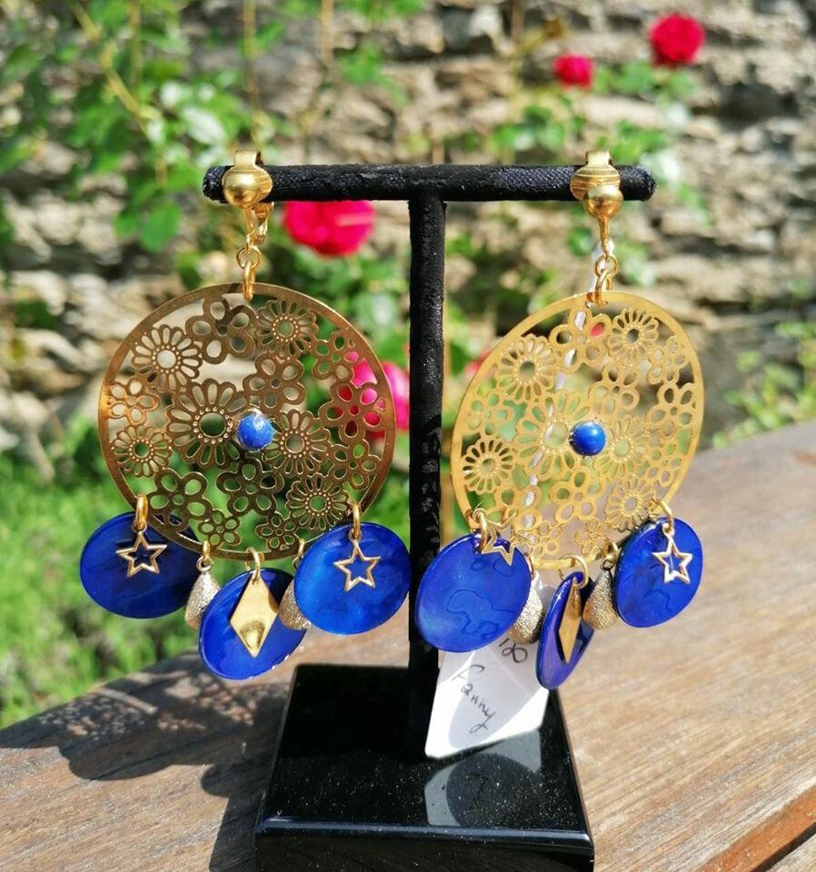 BO Fanny (doré et bleu) - 41 € sur clip ou pour oreilles percées