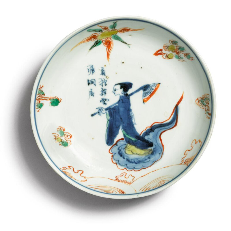 A 'wucai' 'Immortal' dish, Tianqi mark and period (1621-1627)