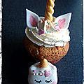 Cupcakes et macarons licorne