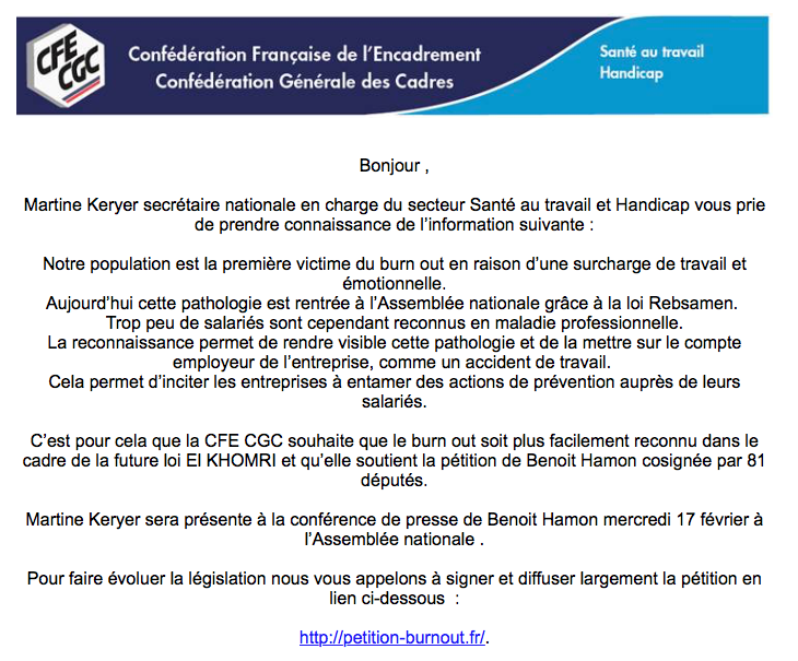 "L' UL CFE-CGC de Lille vous invite à signer : la Pétition ""Burn out"""