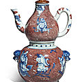 An underglaze-blue and copper-red 'immortals' wine ewer, warmer and a cover, qing dynasty, qianlong period (1736-1795)
