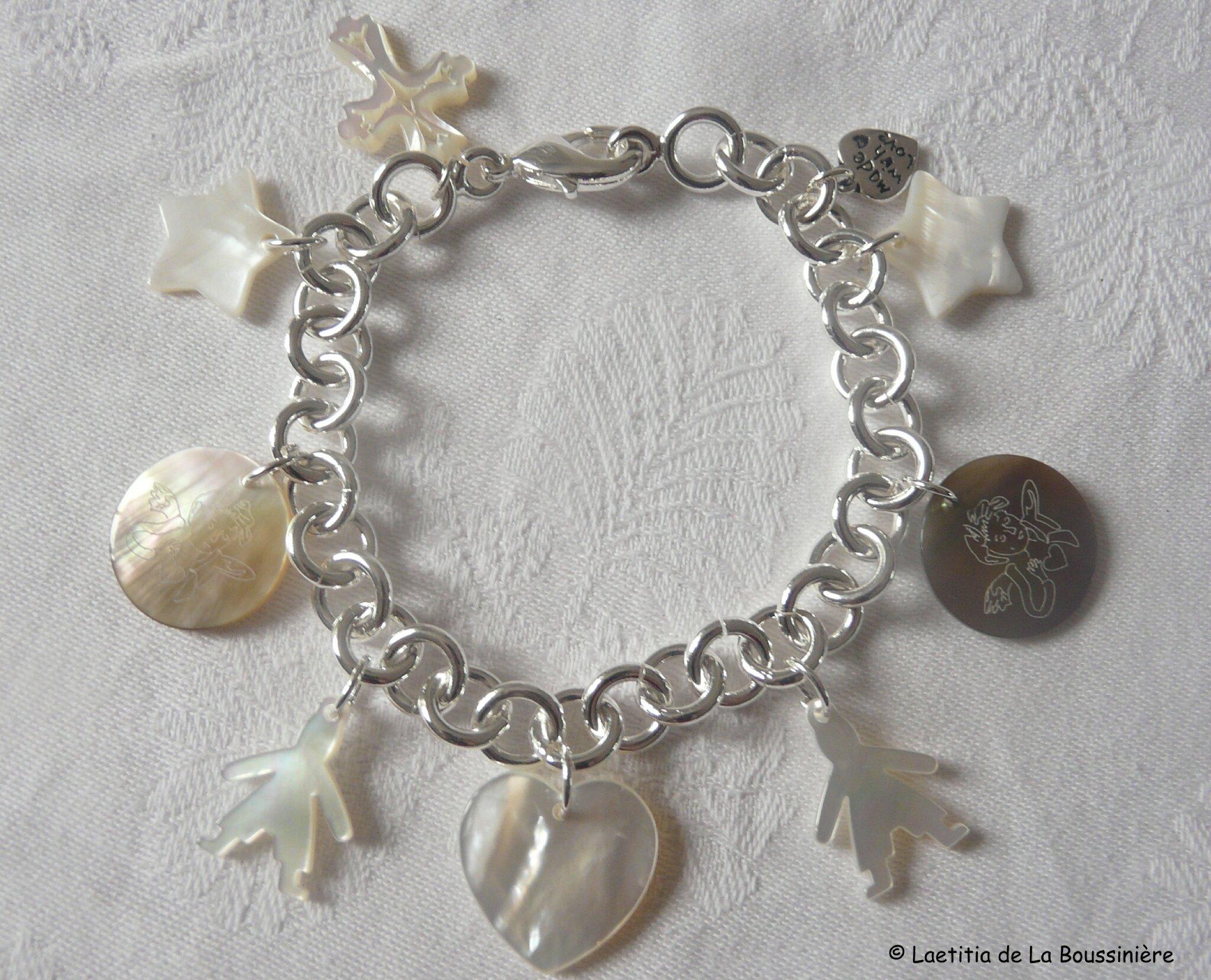 Bracelet sur chaîne plaqué argent ronde