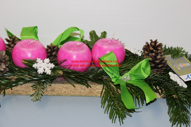 composition avent bougies rose (4)