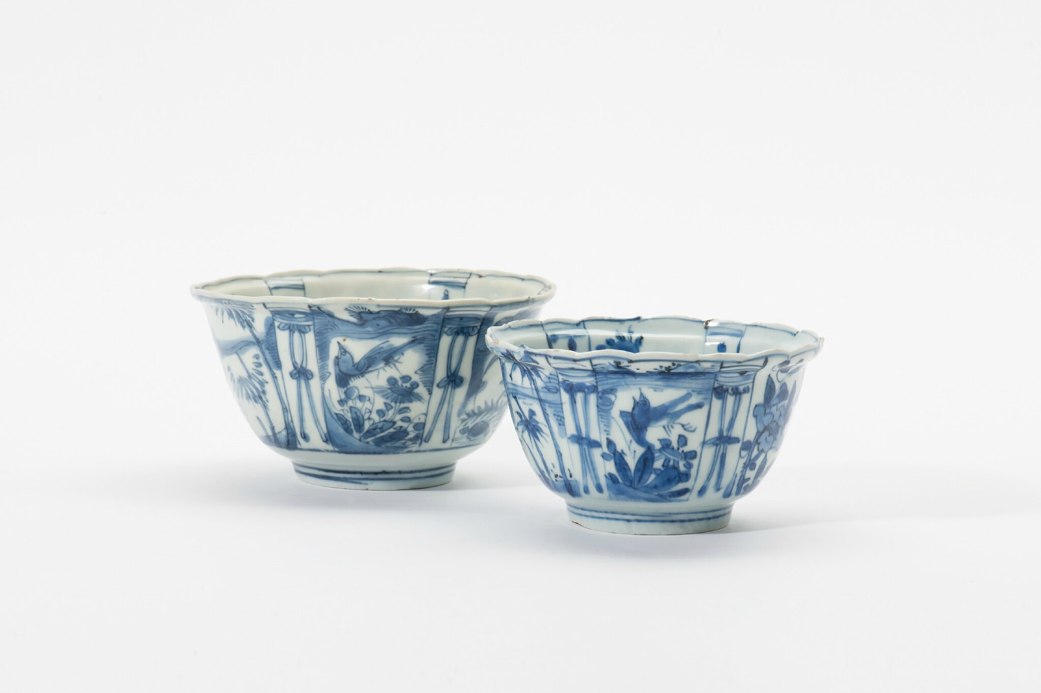 Two Kraak porcelain cups, Wanli period (1573-1619)