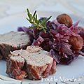 Filet mignon de porc au chou rouge et aux marrons