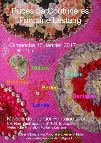 PUCES DES COUTURIERES LE DIMANCHE 15 JANVIER 2017 de 9h à 16h à la maison de quartier Fontaine Lestang à Toulouse
