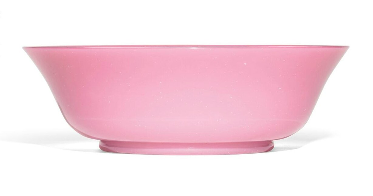 A large pink glass bowl, Qing dynasty