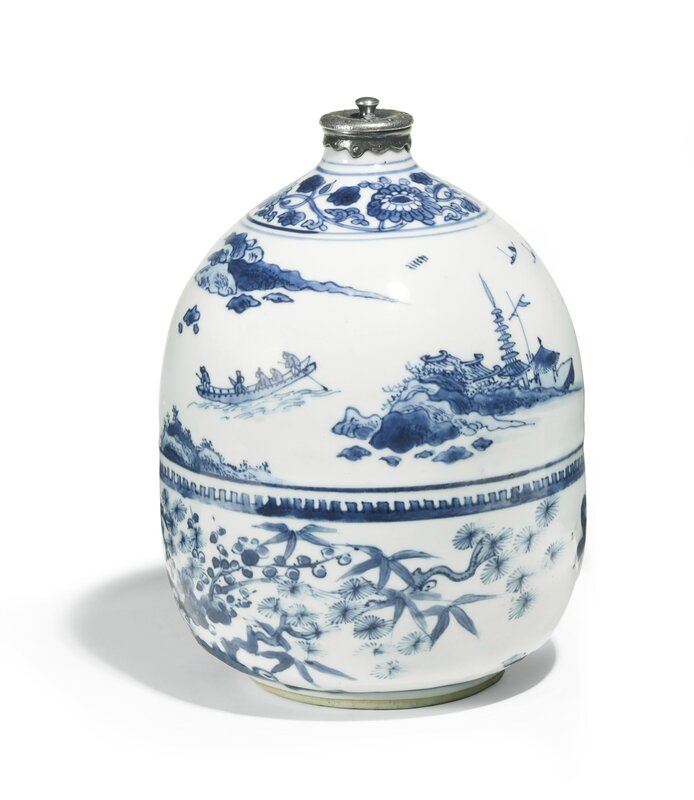 A rare silver-mounted blue and white bottle for the Japanese Market, Ming dynasty, Tianqi-Chongzhen period