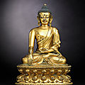 A superb gilt-bronze figure of buddha, yongle incised six-character presentation mark and of the period (1403-1425)