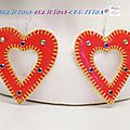 earrings red inner heart a