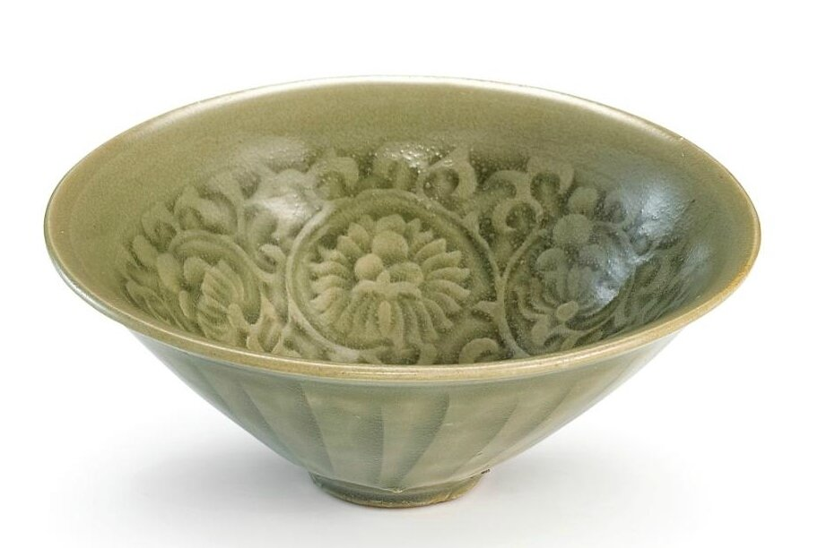 A small moulded 'Yaozhou' celadon-glazed 'chrysanthemum' bowl, Northern Song dynasty