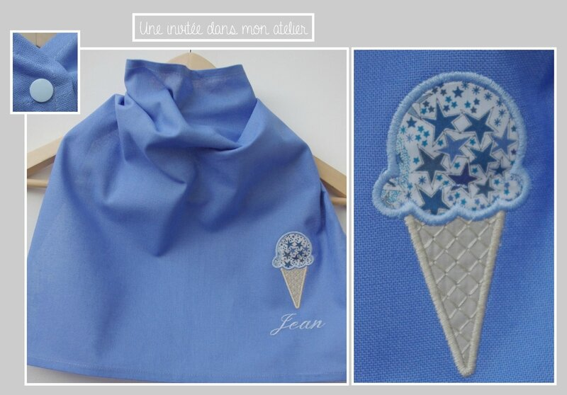 serviette de table-enfant-pression-Liberty Adelajda bleu