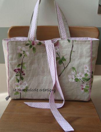 sac à main lin fleurs et pois roses