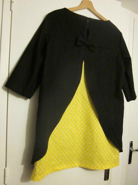 Tunique LEONTINE en lin noir et coton noir à pois blancs - rallongée de 5 cm pour un robe courte - taille 42 (4)