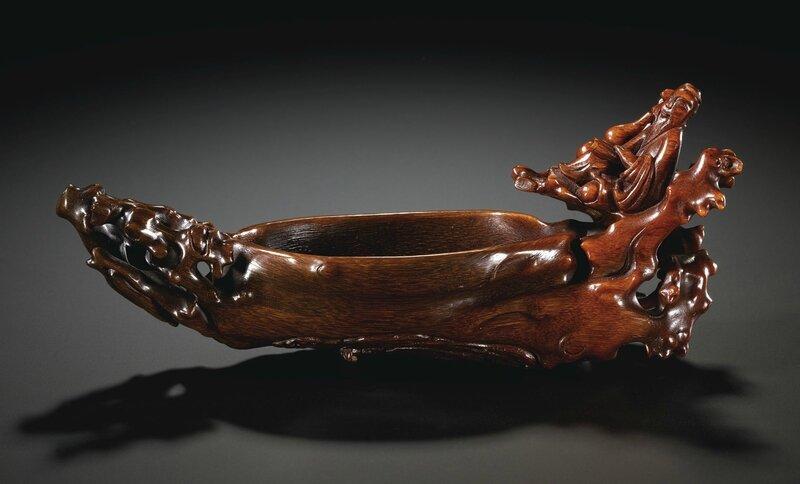 A rare rhinoceros horn 'log raft' vessel, 17th century