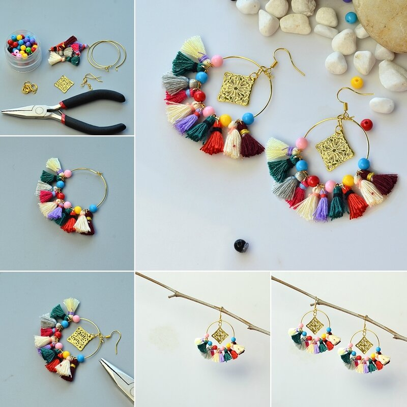 PandaHall Easy Craft on Cotton Tassel Pendant Earrings with Opaque Acrylic Beads1080-5