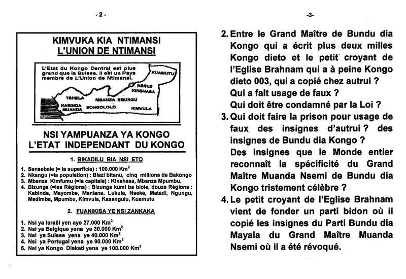 LE PETIT CROYANT DE L'EGLISE BRAHNAM FAIT USAGE DE FAUX DES INSIGNES DE BUNDU DIA KONGO ET DU PARTI BDM b
