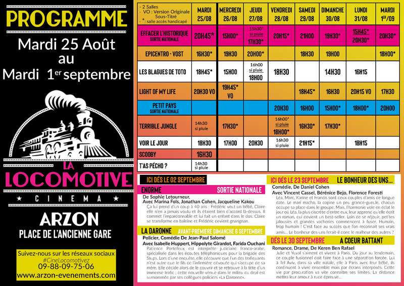 Programme cinema La Locomotive du 26 août au 1er septembre_2