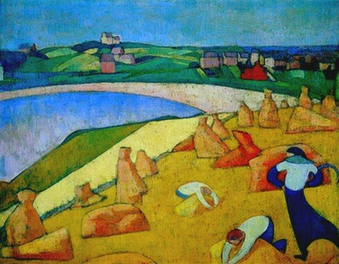 Peinture Emile Besnard Moisson au bord de la mer