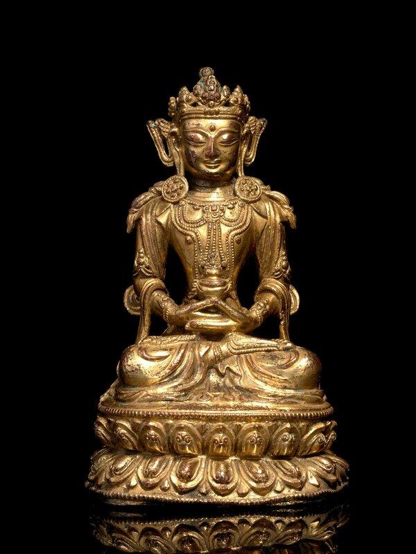 Statuette d'Amitayus en bronze doré, Sino-Tibétain, XVe siècle