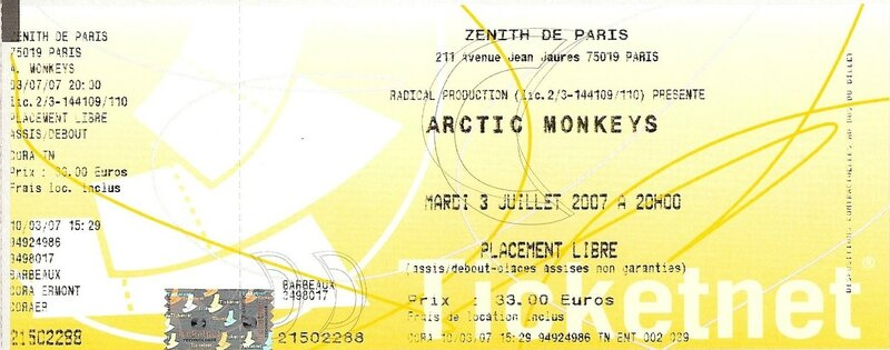 2007 07 Arctic Monkeys Zenith Billet