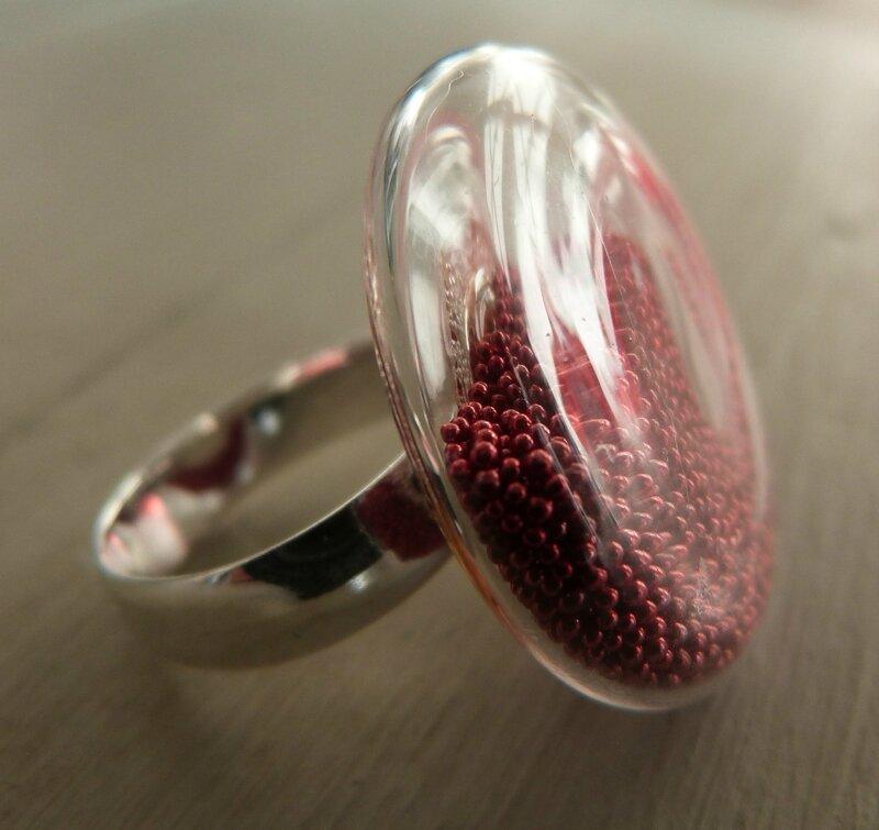 Bague micro billes rouge (3)