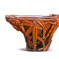 A superb rhinoceros horn lingzhi-shaped 'bamboo' libation cup, 17th-18th century