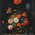 Abraham mignon, a fringed red poppy, a tulip, an iris, roses, poppies and other flowers with insects in a glass vase on a stone