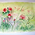 AQUARELLE ROSES SAUVAGES