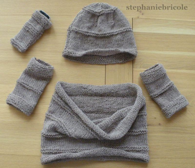 Echarpe col, bonnet et mitaines assortis - Stéphanie bricole 5e23cd1acad