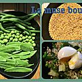 *taboulé de légumes verts et oeufs mollets*