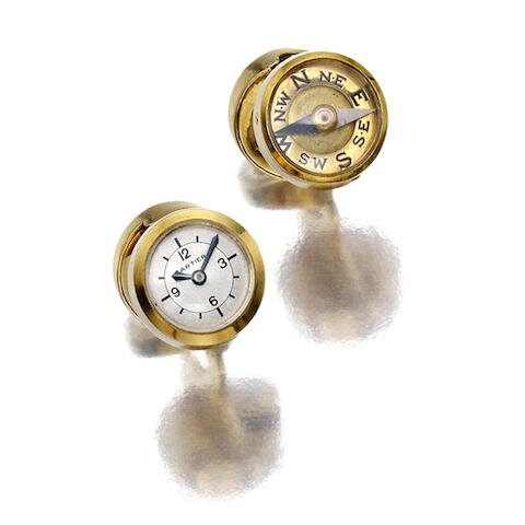 A pair of 18K gold watch and compass cufflinks, Cartier, French, 1935