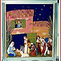 Armoire Crèche Bois peint cérusé bleu antique-Ciel étoiles-2-35x31x12cms-06-11-2008