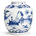A rare blue and white 'Boys' jar, 17th century