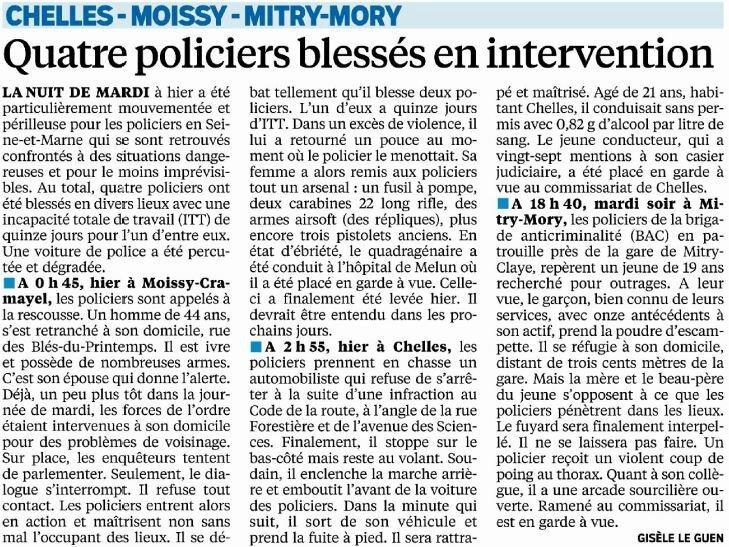 policiers blessés en intervention - Le Parisien - 09