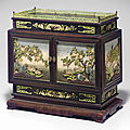 An embellished zitan rectangular two-door table cabinet, 18th century