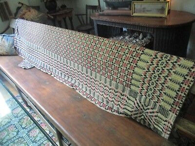Antique-Shaker-Textile-Coverlet-Woven-Blanket-Homespun-Wool