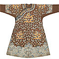 A very rare imperial chestnut-ground gauze silk summer 'dragon' robe, jifu, qianlong period (1736-1795)