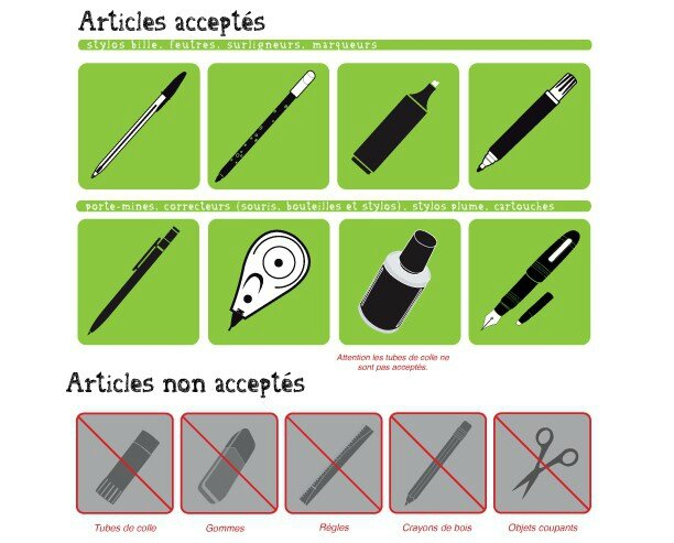 Instruments d'écriture-acceptés