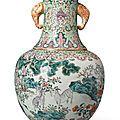 A famille-rose 'three goats' vase, republic period (1911-1949)