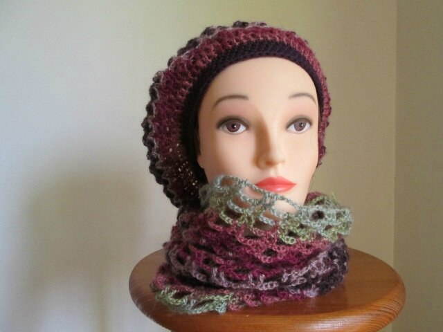 Beret et snood en angora active (6)