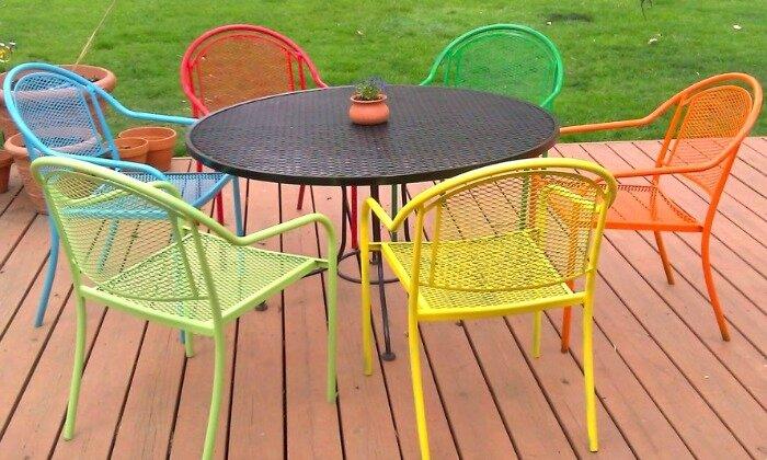 La DecoPeleMele - chaises et table de jardin en FER remis en couleur ...