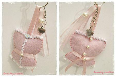porte clef rose pale et croquet blanc